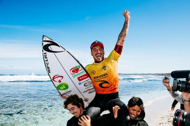 Gabriel Medina vence campeonato na Austrália. Foto: Wsl/Dunbar