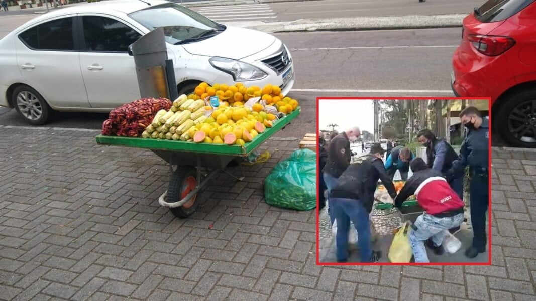 Vendedor tem frutas apreendidas e gera revolta do público/ Foto: Tiago Silva
