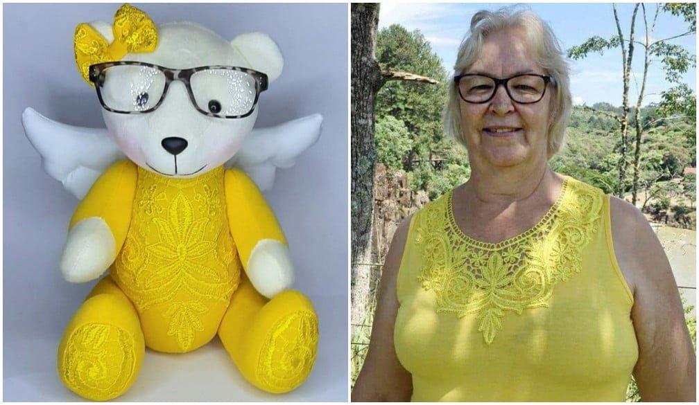 O ursinho veste as mesmas roupas e óculos de Ana Lucia de Noronha/ Foto: Arquivo pessoal