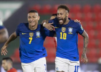 Neymar marcou o primeiro gol que abriu o placar. Foto: Lucas Figueiredo/CBF