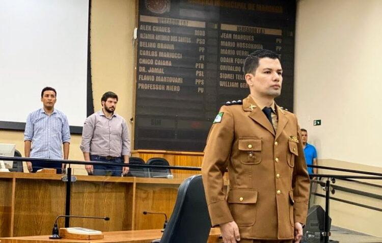 Posse de Rodrigo como comandante da 4 CIA da PRE em Maringá - Foto: Arquivo